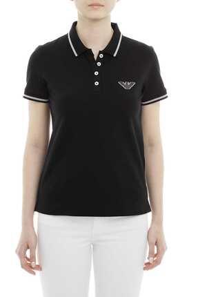 Emporio Armani Kadın Siyah Polo Yaka T-shirt 3g2m61 2jbxz