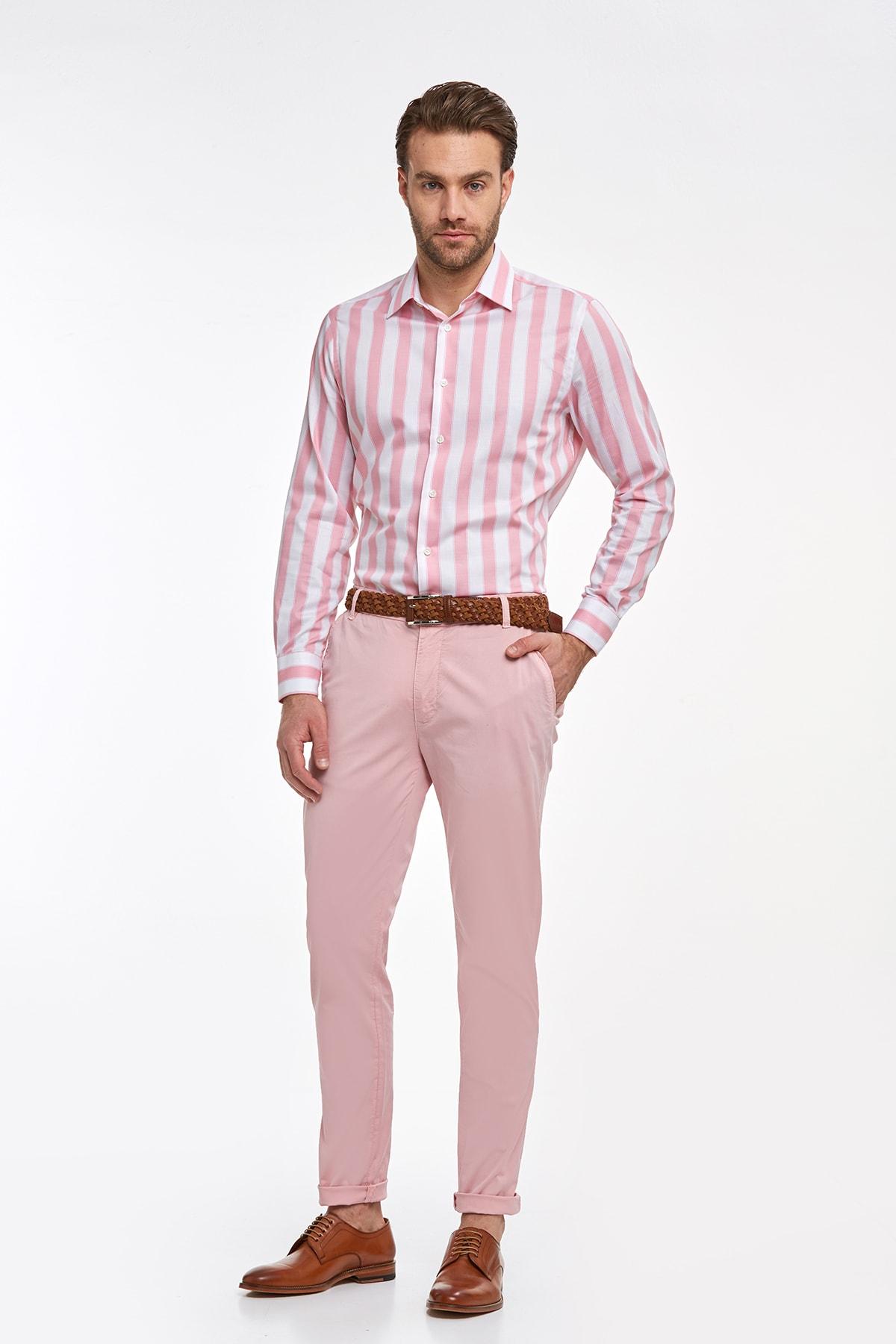 Hemington Erkek Pembe Beyaz Kalın Çizgili Pamuklu Gömlek 2