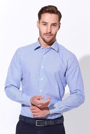 Hemington Erkek Mavi Beyaz Çizgili Pamuklu Gömlek