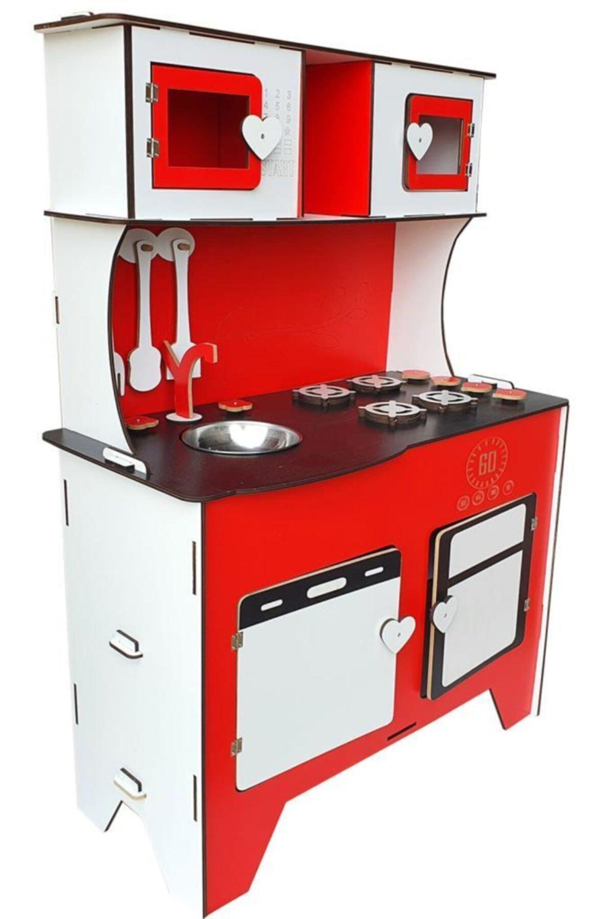 WoodyLife 104 cm Çocuk Odası Ahşap Mutfak Montessori Oyuncak Dolabı Kırmızı Zeytindalı Oyunevi 2