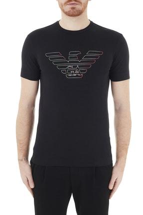 Emporio Armani Erkek Siyah Logo Baskılı Bisiklet Yaka Pamuklu T Shirt 3k1tca 1j11z 0999