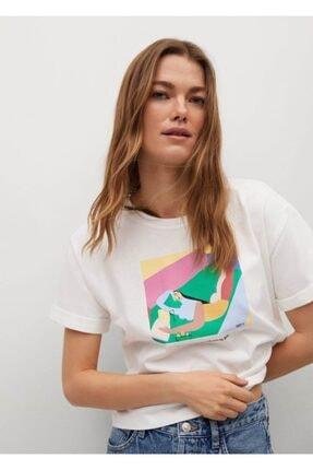 MANGO Woman Kadın Beyaz Baskılı Kısa Kollu T-shirt