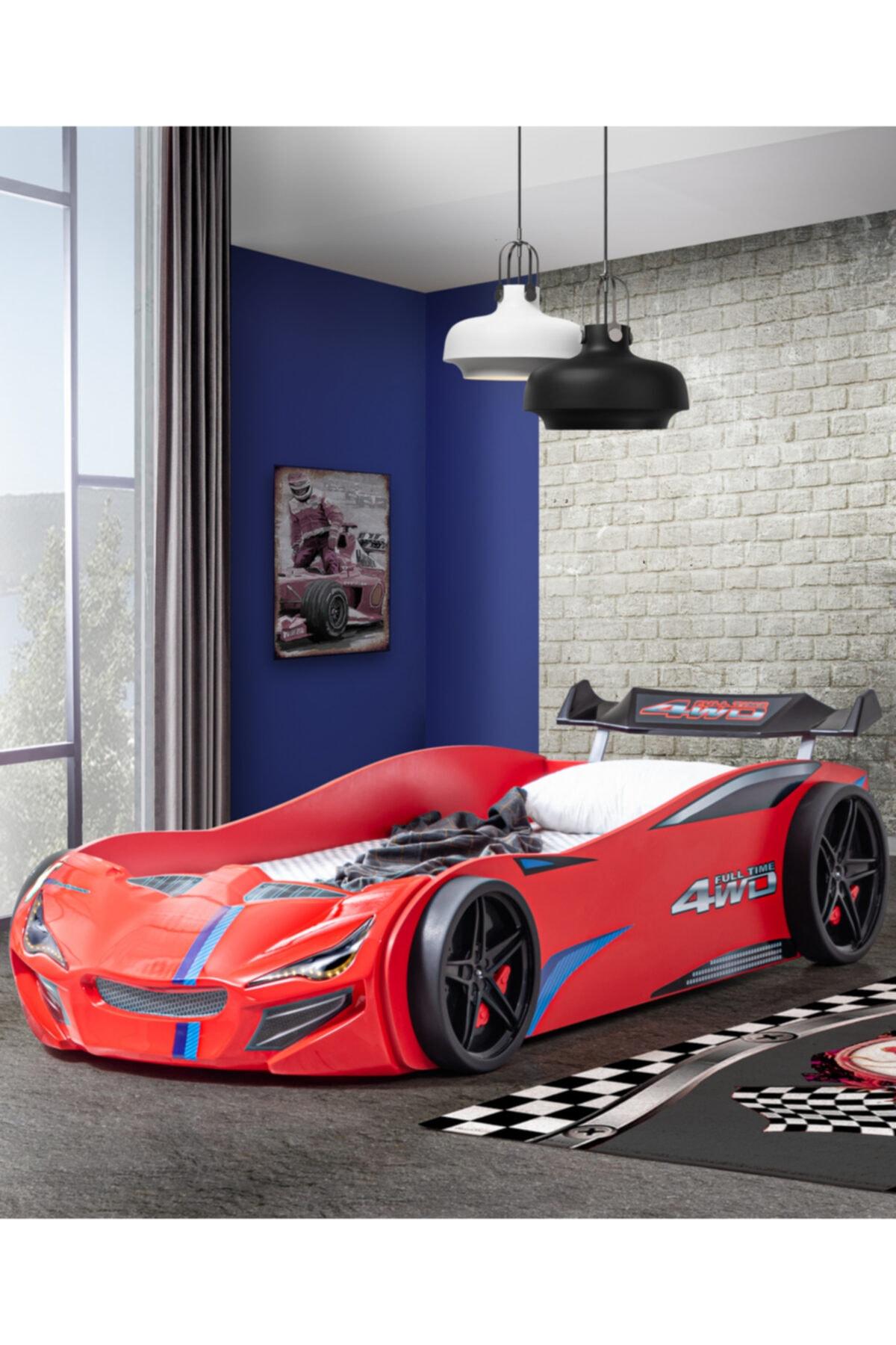 Setay Arabalı Yatak, Merso Rüzgarlıklı Arabalı Karyola - Kırmızı 1