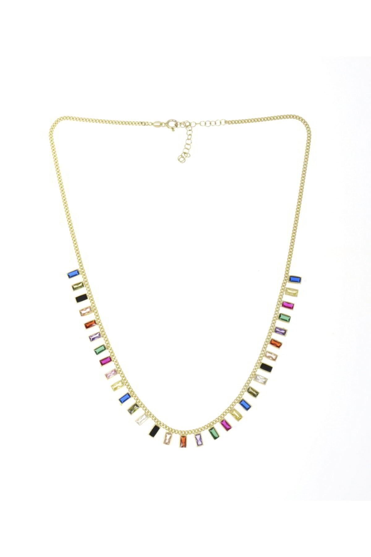 Luna Argento Jewelry Baget Model Renkli Zirkon Taşlı Gümüş Kolye 1