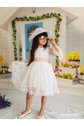 Buse&Eylül Bebe Kız Çocuk Ekru Puantiyeli Şapkalı Güpürlü Prenses  Elbisesi
