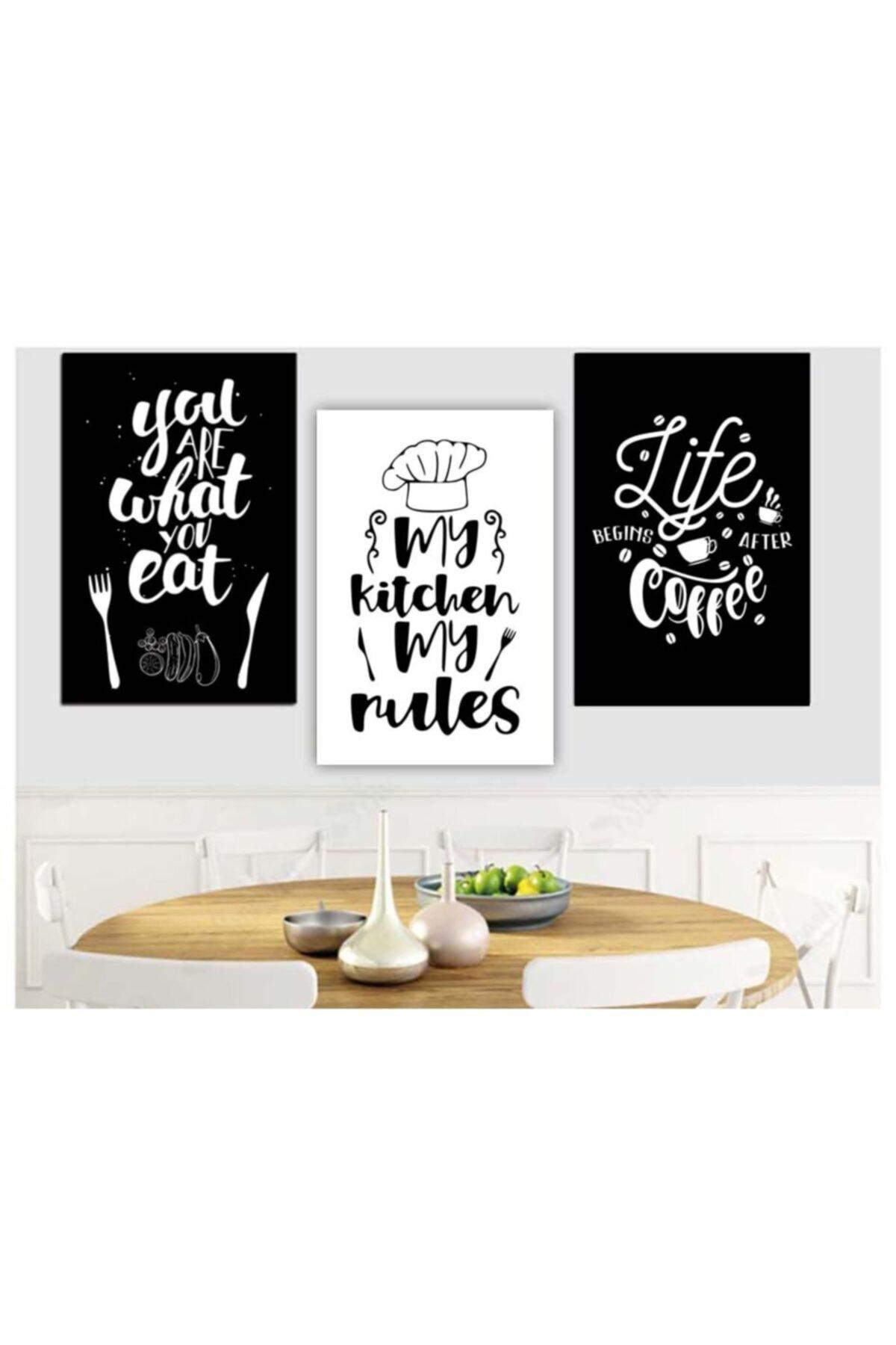 ELF Design Mutfak Tablo My Rules 3'lü Ahşap Mdf Tablo 1