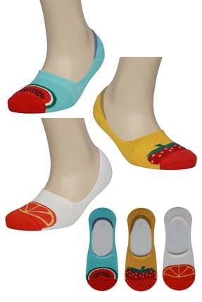 FandD 3'lü Kadın Silikonlu Bambu Babet Çorabı Meyve Desenli