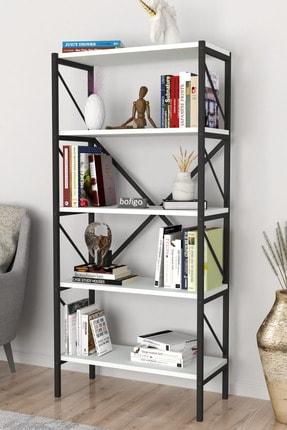 Bofigo Dekoratif 5 Raflı Kitaplık Metal Kitaplık Beyaz