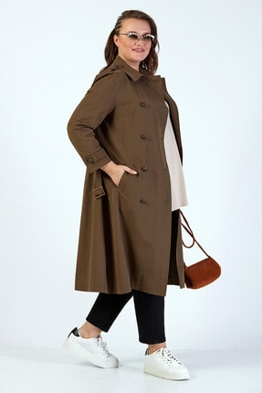 Büyük Moda Kadın Haki  Trenchcoat