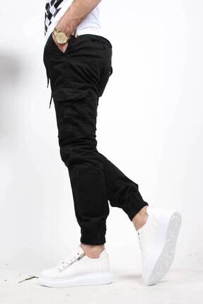 Oksit Erkek Siyah Beli ve Paçası Lastikli Likralı Keten Kargo Pantolon