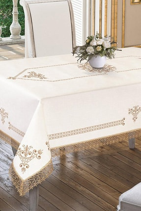 Çeyiz Diyarı Lale Baskılı Es Güpürlü Masa Örtüsü - Gold
