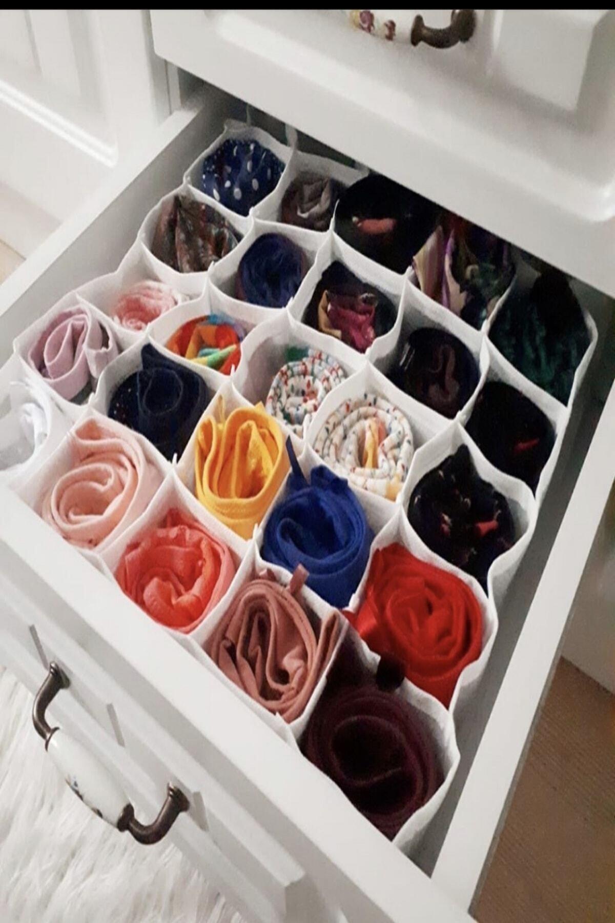 Piya Home 2 Adet 30 Gözlü Petek Organizer/düzenleyici (Çorap,iç Çamaşırı,kemer) 1