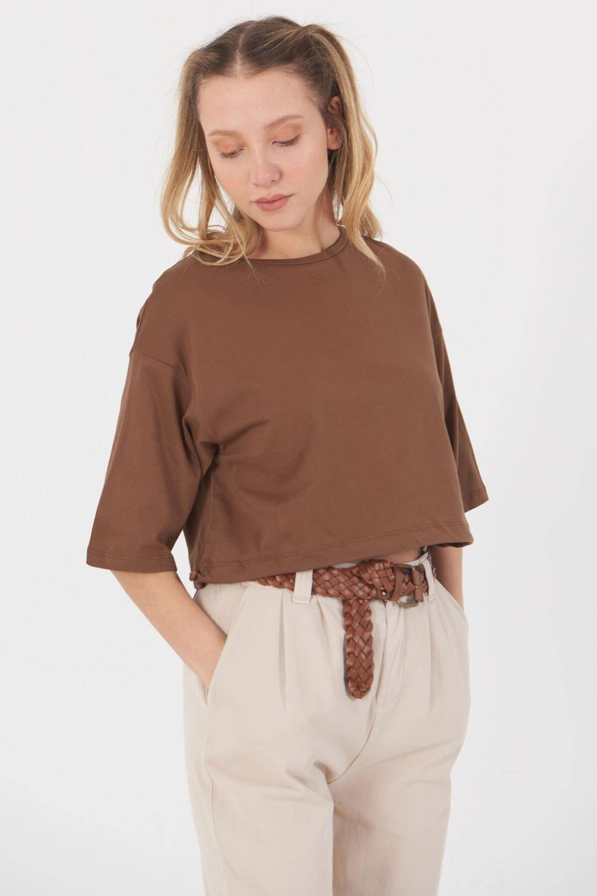 Addax Kadın Kahve Basic T-Shirt B112 - J8 Adx-0000023873 2