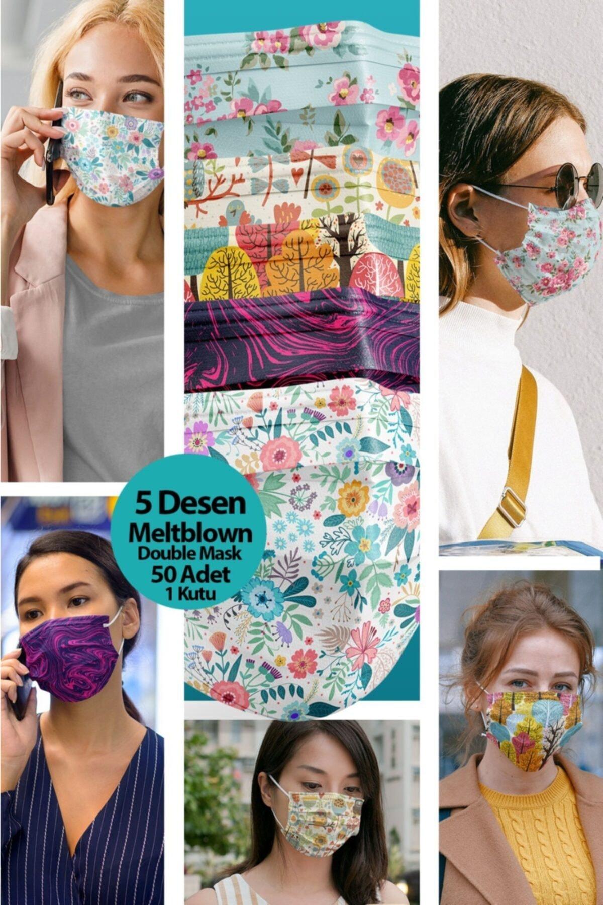 Medizer Mouds Serisi 1 Meltblown Kumaş 3 Katlı Ultrasonik Cerrahi Ağız Maskesi 5 Desen -telli 50 Adet 2