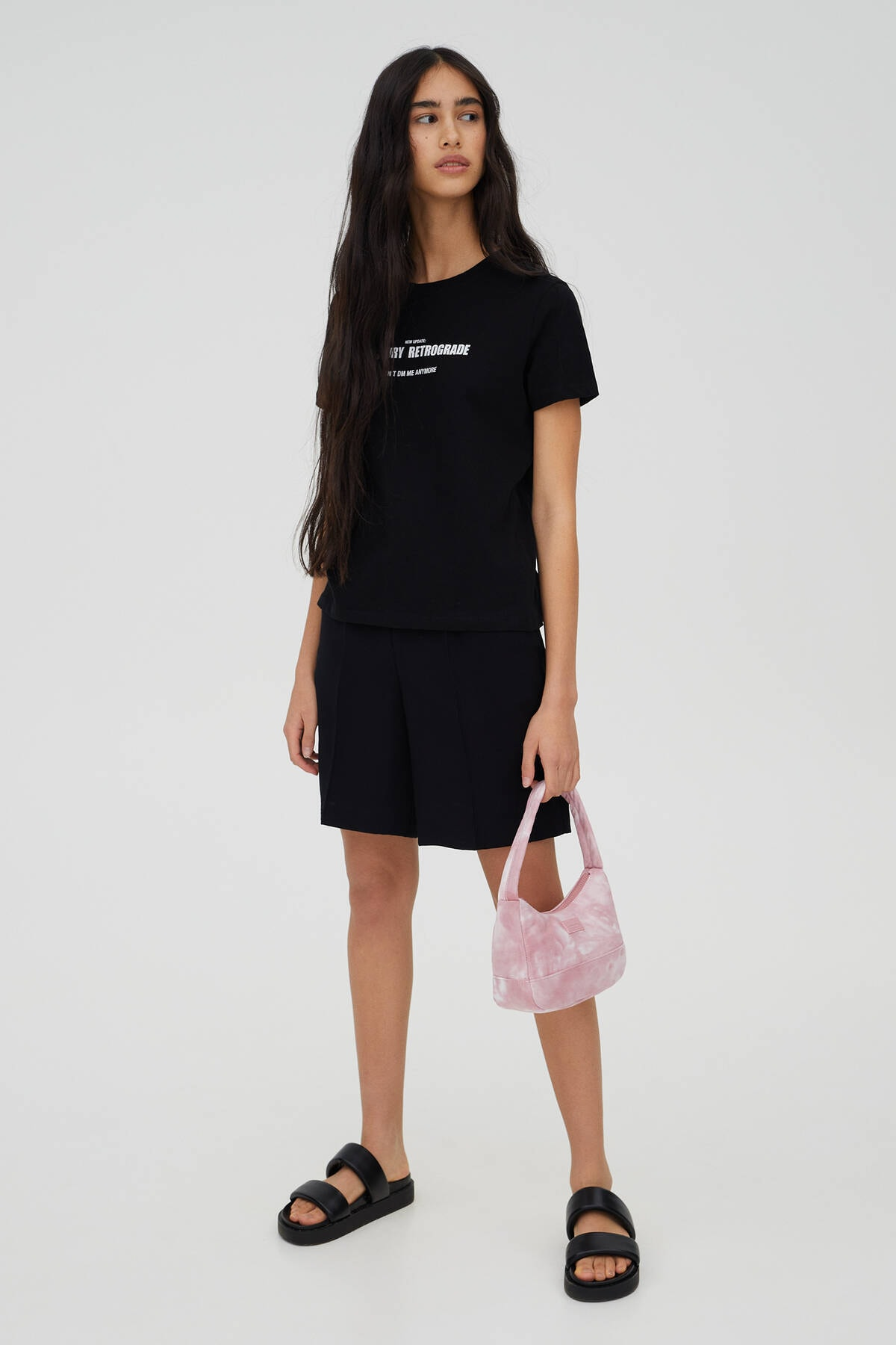 Pull & Bear Kadın Siyah Sloganlı Kısa Kollu T-Shirt 09244325 2