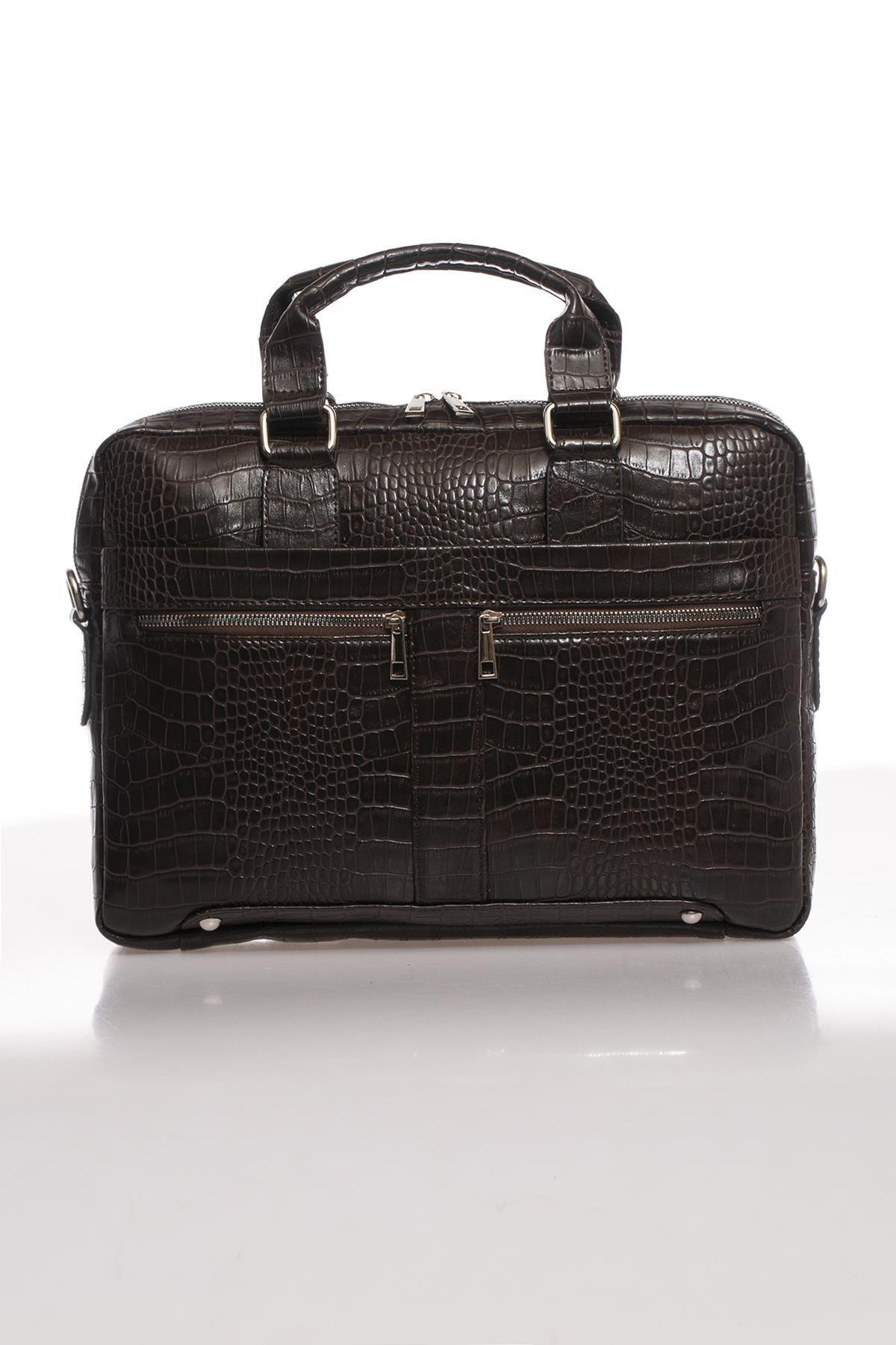 Sergio Giorgianni Luxury Mpist9141 Kroko Kahverengi Unısex Evrak Çantası 1