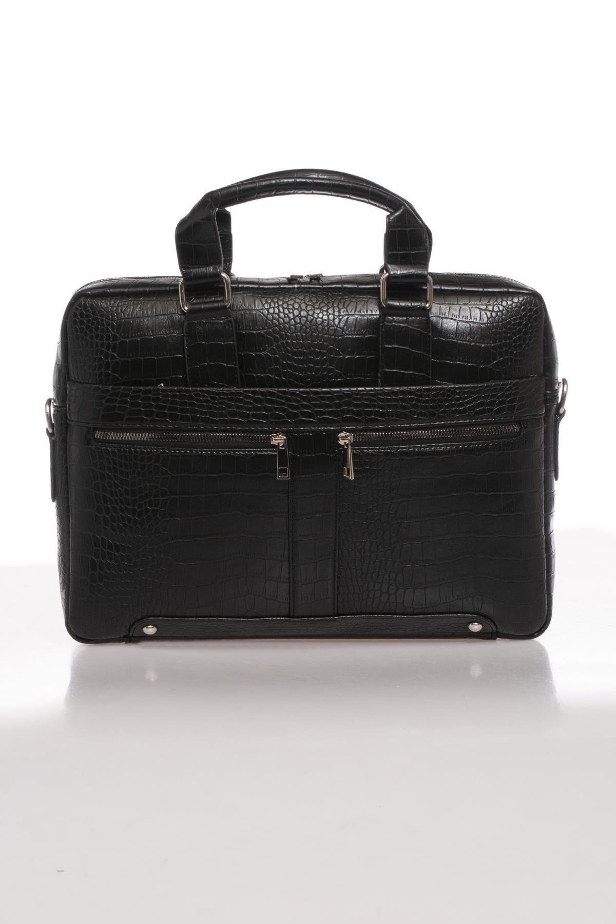 Sergio Giorgianni Luxury Mpist9141 Kroko Siyah Unısex Evrak Çantası 1