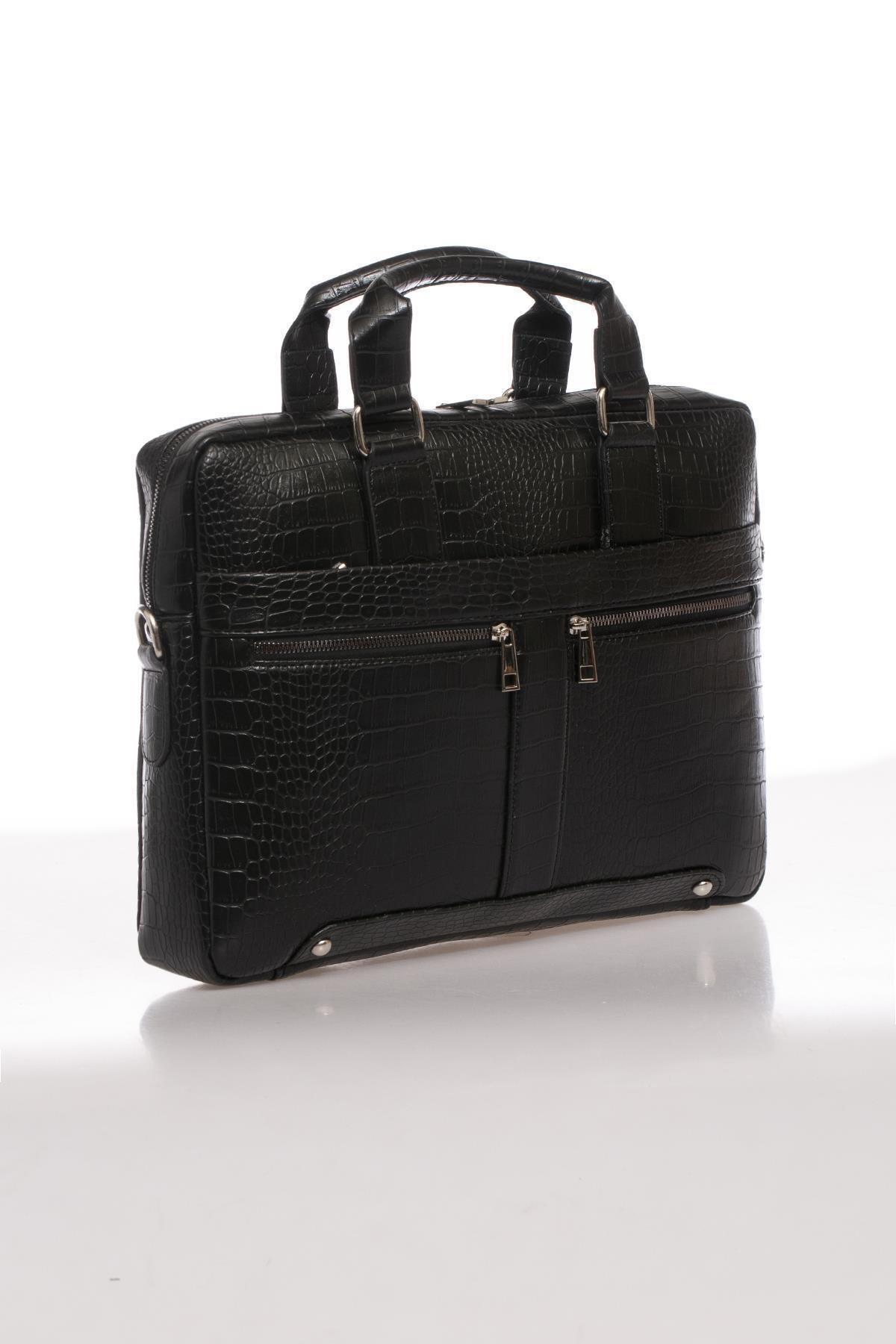 Sergio Giorgianni Luxury Mpist9141 Kroko Siyah Unısex Evrak Çantası 2