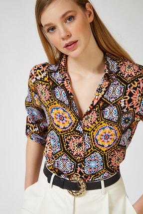 Happiness İst. Kadın Çikolata Desenli Viskon Gömlek BH00318