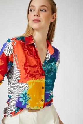 Happiness İst. Kadın Mavi Desenli Viskon Gömlek BH00318