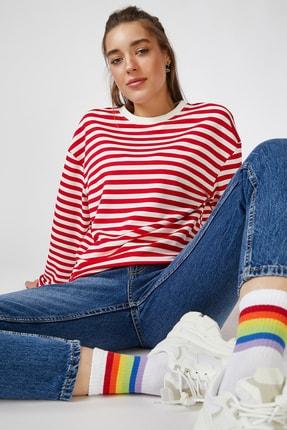 Happiness İst. Kadın Kırmızı Çizgili Dökümlü Viskon Bluz CO00010