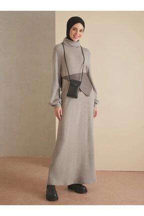 Loreen Kadın Gri Boğazlı Yaka Elbise