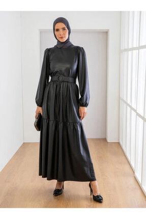 Loreen Kadın Siyah Kemer Detaylı Elbise