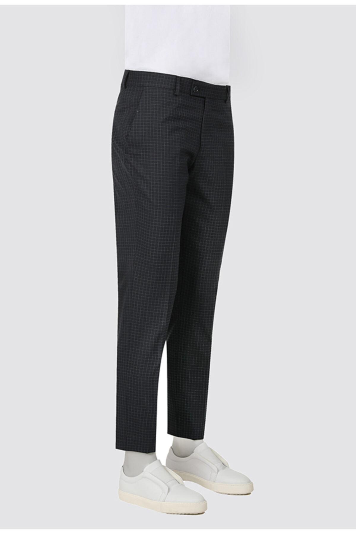 D'S Damat Twn Slim Fit Lacivert Kareli Kumaş Pantolon 1