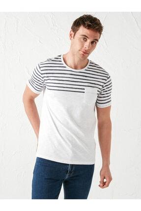 LC Waikiki Erkek Beyaz Çizgili T-Shirt
