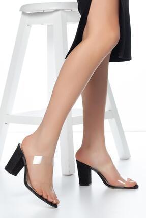 MUGGO Siyah Muggo W703 Şeffaf Kadın Topuklu Terlik