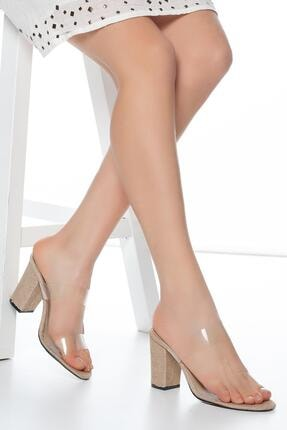 MUGGO Krem Muggo W703 Şeffaf Kadın Topuklu Terlik