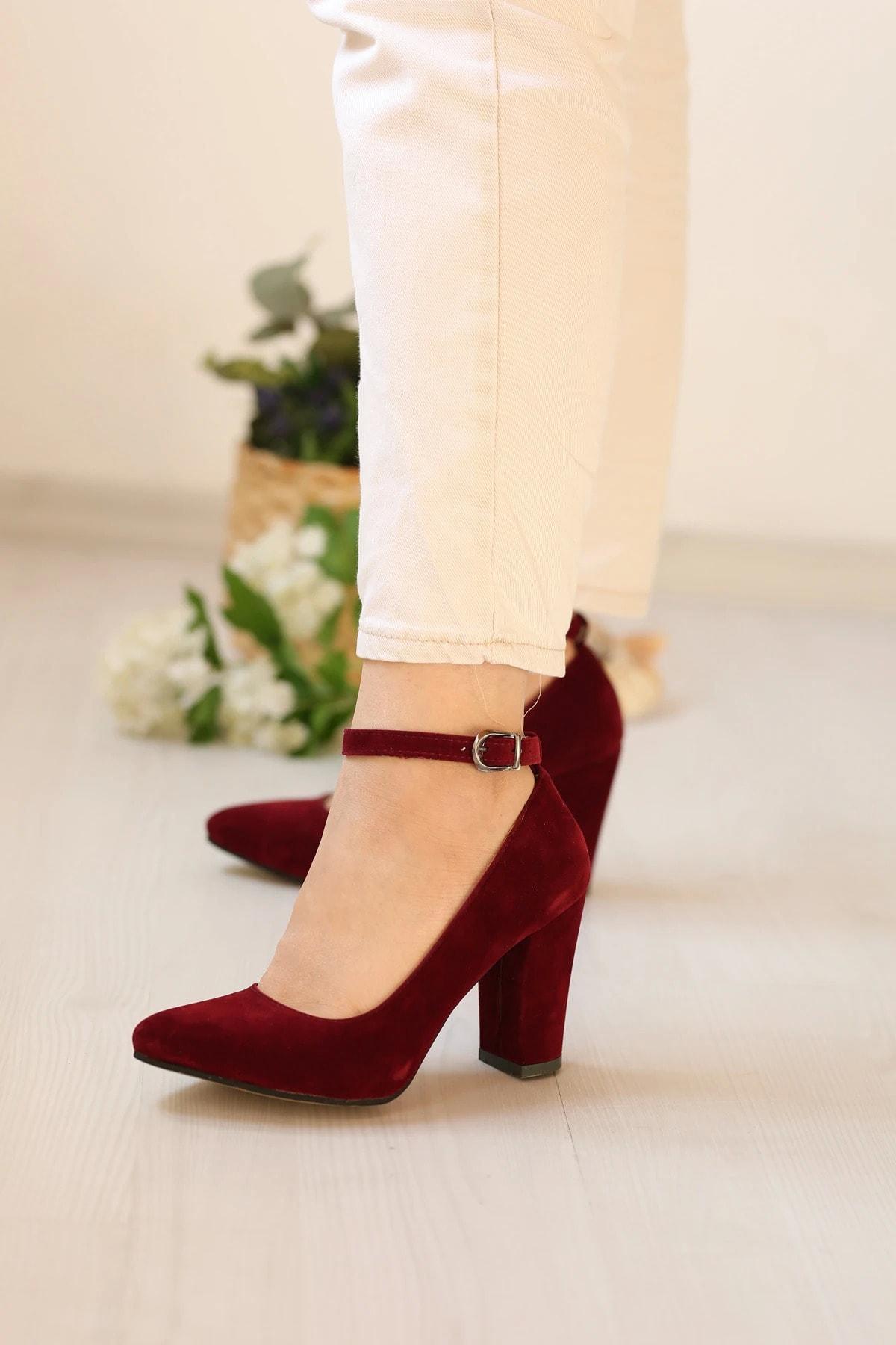 METRO AVM Kadın Bordo Kuzu Stiletto Ayakkabı 2