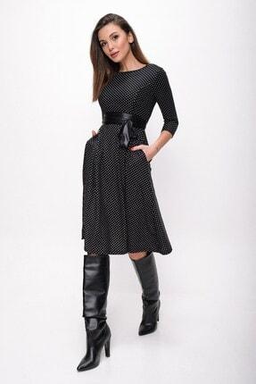 By Saygı Kadın Siyah Benekli Cepli Zımparalı Süet Pileli Elbise