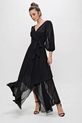 By Saygı Kadın Siyah Kruvaze Balon Kollu Uzun Şifon Elbise