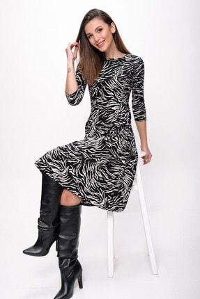 By Saygı Kadın Siyah Zebra Desen Cepli Zımparalı Süet Pileli Elbise
