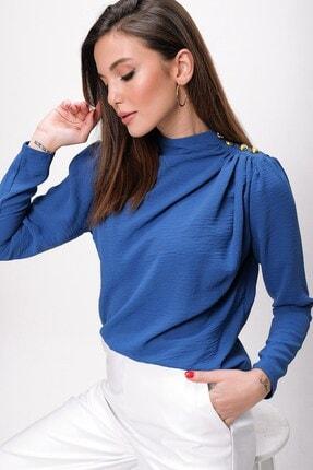By Saygı Kadın Koyu Mavi Omzu Düğmeli Krep Bluz