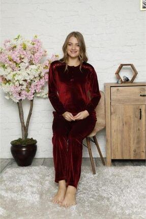 Manolya Kadın Açık Bordo Kadife  Renk 3 Düğmeli Pijama Takım