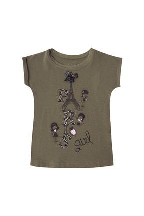 Pattaya Kids Kız Çocuk Haki Taşlı Paris Baskılı Kısa Kollu  T-Shirt