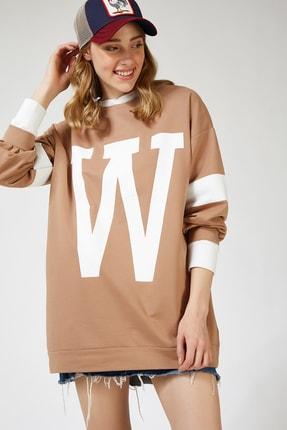 Happiness İst. Kadın Bisküvi W Baskılı Oversize Uzun Mevsimlik Sweatshirt AP00119