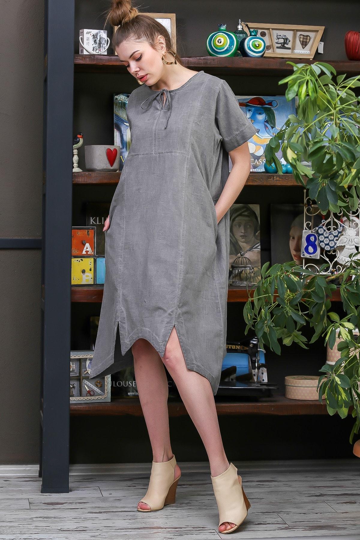Chiccy Kadın Füme Bağlama Detaylı Yarım Kol Midi Asimetrik Kesim Elbise M10160000EL95575