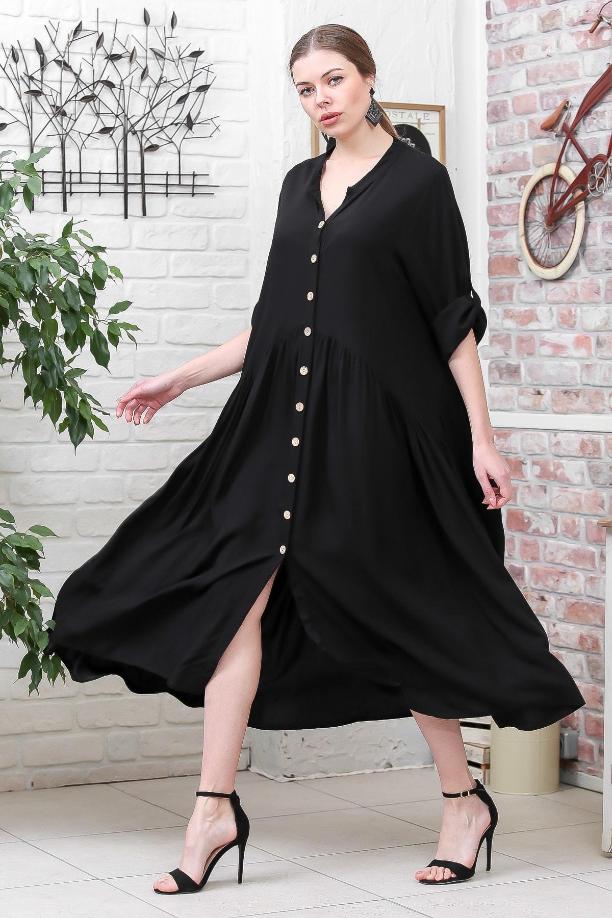 Chiccy Kadın Siyah Bohem Ahşap Düğmeli Büzgülü Salaş Elbise M10160000EL95595