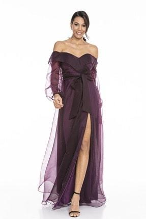 Abiye Sarayı Kadın Mor Kayık Yaka Yırtmaç Ve Kemer Detaylı Tül Uzun Abiye Elbise