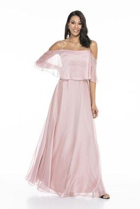 Abiye Sarayı Kadın Pudra Askılı Yırtmaç Detaylı Şifon Elbise