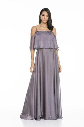 Abiye Sarayı Kadın Mor Askılı Yırtmaç Detaylı Şifon Elbise