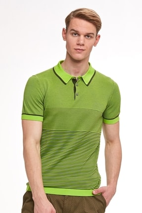 Hemington Erkek Yeşil  Giza Pamuk Çizgili Triko Polo
