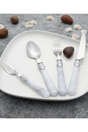 ACAR Maria 24 Parça Çelik Çatal Kaşık Bıçak Seti 500089-beyaz