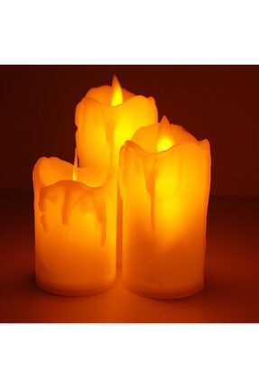 Coverzone 3'lü Romantik Led Işıklı Pilli Gerçekci Yapay 7-9-11 Cm Set Mum