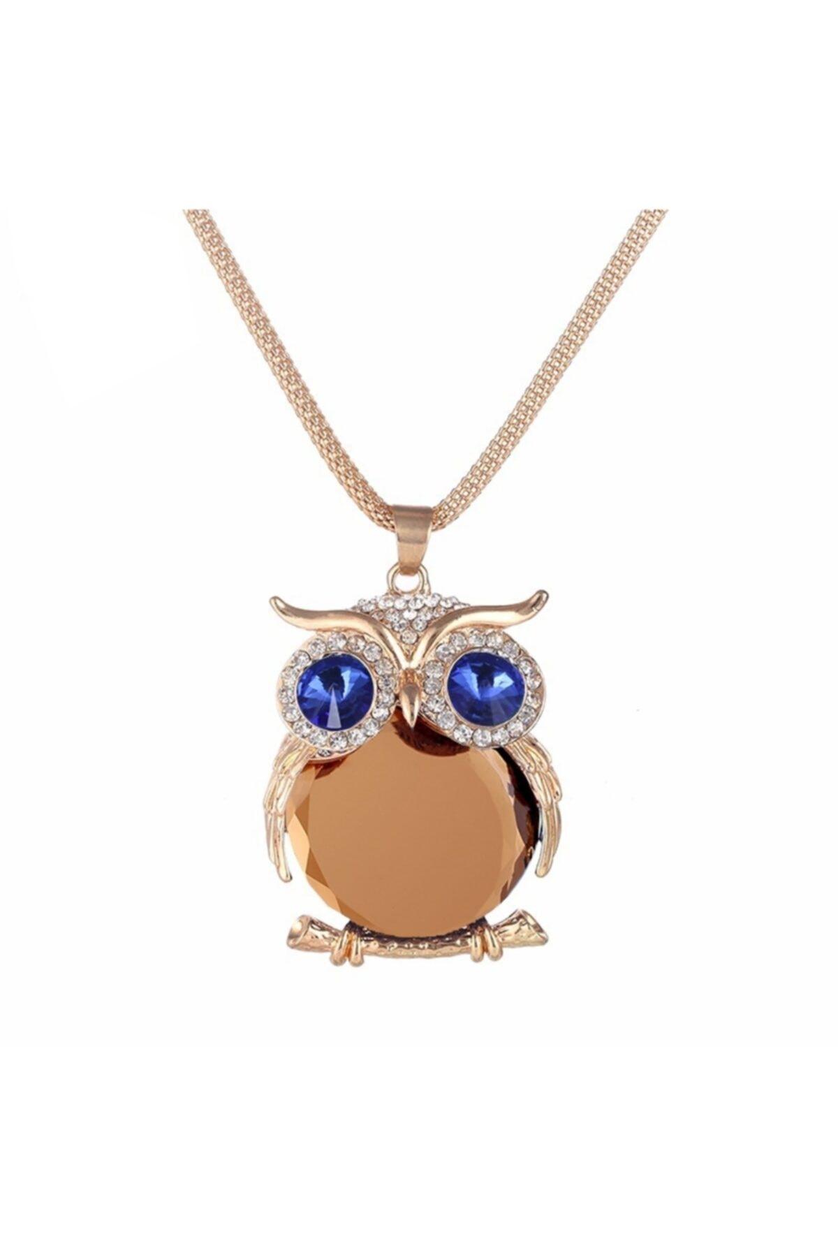 Chavin Kadın Kristali Taşlı Büyük Baykuş Kolye Dm55ys 1