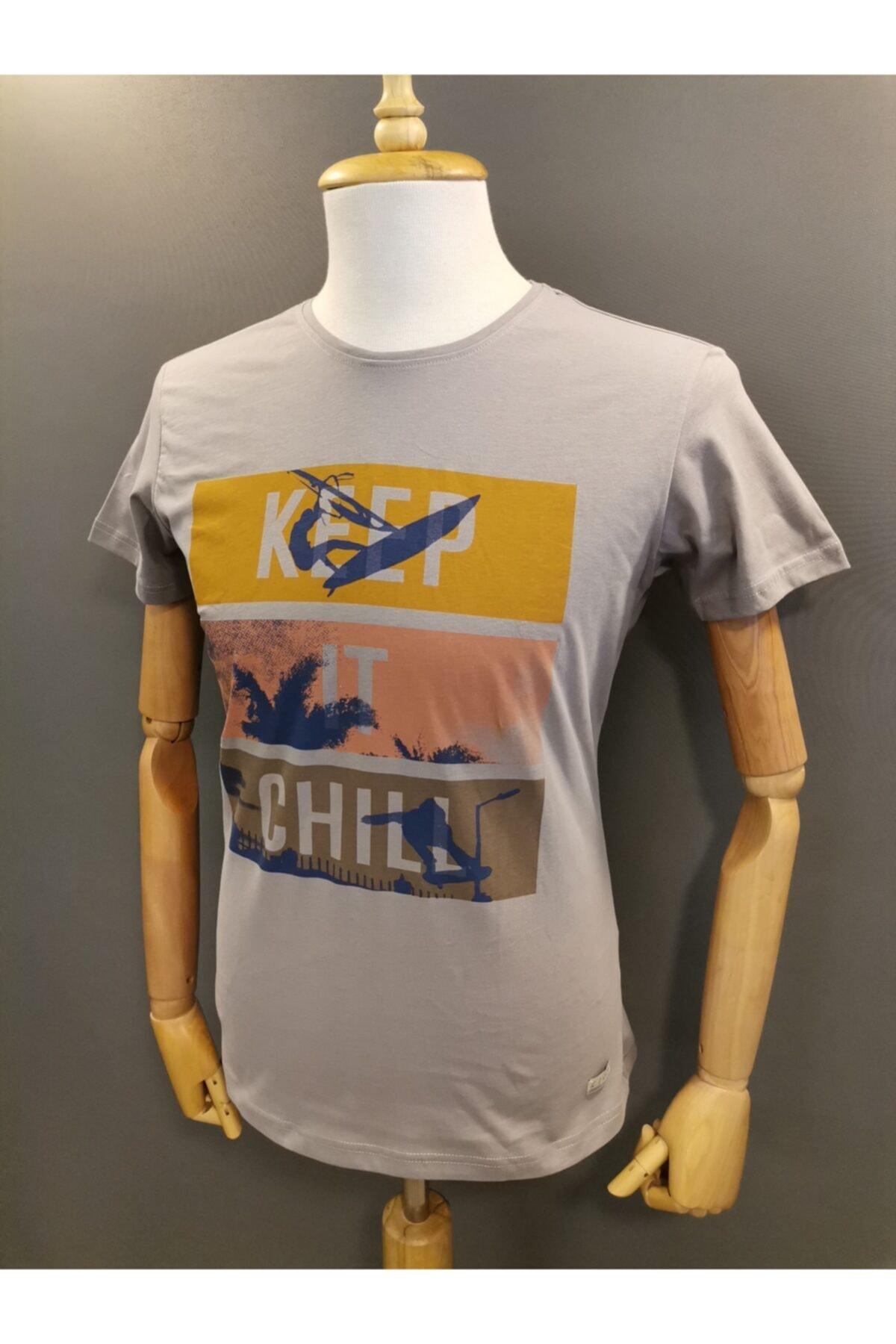 Lion Erkek Bisiklet Yaka  T-shirt 2709 Gri Baskılı 2