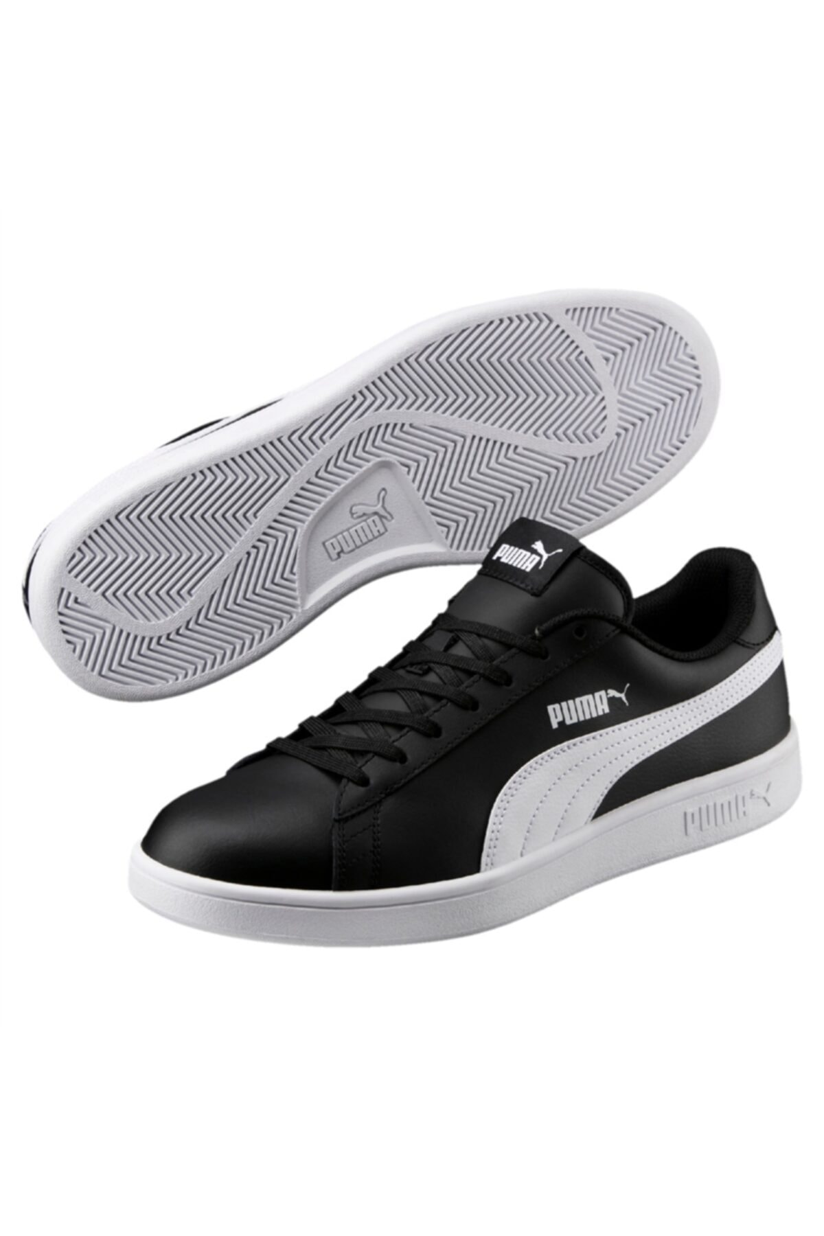 Puma SMASH V2 L Siyah BEYAZ Unisex Deri Sneaker 100323982 1